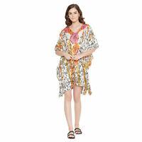 Women Casual Short Kaftan Floral Printed Loose Tunic Top Shirt Blouse Mini Dress