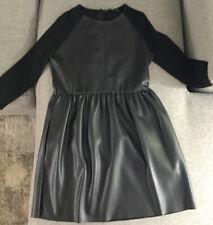 Zara Knit Black Faux Leather (pleather) Dress Size Small
