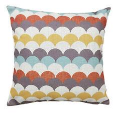 Brown Yellow Kids Scallop Wave Geometric Cotton Linen Pillow Cushion Cover 45cm