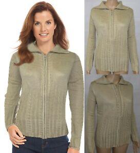 Womens Ladies Chunky Cable Knit Cardigan zip up Long Sleeves Grandad Cardigan