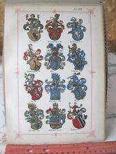 Vintage Print,PLATE XLX,Swiss Coats of Arms,1860,Jean Egli,Illuminated
