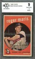 Roger Maris Card 1959 Topps #202 Kansas City Athletics BGS BCCG 9