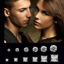 2Pcs Women Men Kids Surgical Steel Hypo-Allergenic AAA CZ Crystal Stud Earrings