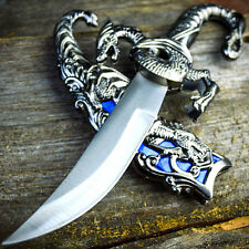 "10"" Dragon Fantasy Fixed Blade Knife Dagger Sword Medieval Ninja w/ Sheath"
