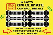 6 GMC Button Decals Sierra Silverado Escalade Yukon Climate Control A/C REPAIR
