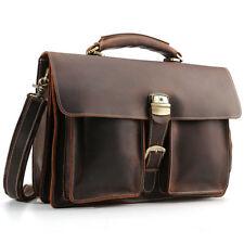 """Men Real Leather 16"""" Laptop Briefcase Shoulder Bag Travel Bag Satchel Handbag"""