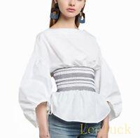 Womens White Slim Waist  Back Zip Sweet Casual Tops Loose Sleeve Blouse Shirts