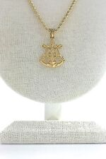 Anchor Crucifix Pendant with 24 inch long Rope Chain Set Style 1, Gold Plated