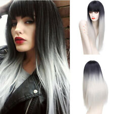 Long Straight Synthetic Hair Ombre Grey Wigs Middle Part With Bangs for Women