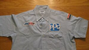 PPG Indycar World Series light blue Men's button down short sleeve shirt