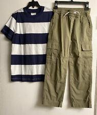 NWT HANNA ANDERSSON Boys Olive Cargo Pull On Pant & Stripe Tee Shirt SZ  6-7 Set