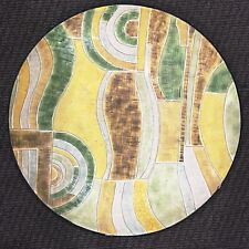 """Large Shallow Metal Centerpiece Bowl Abstract Painted Textured Surface 20 1/4"""""""