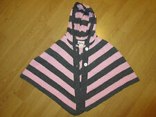 GIRLS LITTLE LASS SHAWL SWEATER SIZE 4 PINK AND GRAY STRIPED -Party Holiday