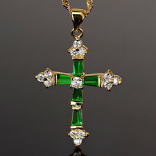 18K Yellow Gold Plated Pendant Necklace Fashion Jewelry Cross Cut Green Emerald