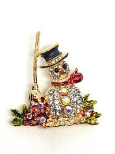 SNOWMAN christmas fashion party brooch rhinestone jewelry fun gold tone gift 14