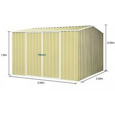Absco ECO-Nomy 3m x 3m Double Door Colorbond Garden Shed - MERINO Colour