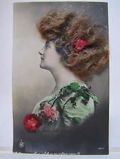 Antique Victorian Woman Postcard 'real hair flowers' old hand tinited color