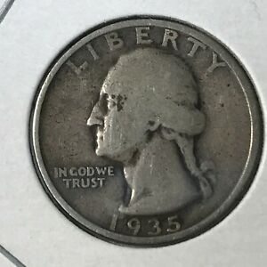 1935 WASHINGTON SILVER  25 CENTS BETTER DATE