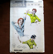 ITALIAN SHIRT Blouse Quick Easy Size 14 Vintage Sewing Pattern Butterick 7731