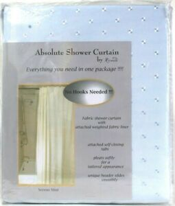 "Absolute Shower Curtain By Ricardo 70"" X 73"" Serene Mist 12 Closing Tabs & Liner"