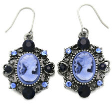 Heart Antique Style Silver Tone Cameo Royal Navy Blue Stone Dangle Earring Charm