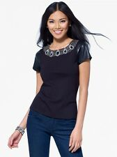 CACHE Embellished Black Ponte Top with Pleather Sleeves. NWT S