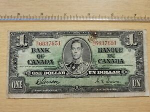 🇨🇦 Canada 1 dollar  1937  P-58 BC-21c  Gordon - Towers  Banknote  072721-9