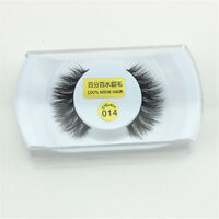 Black  #14 100% Real Mink 1cm Long Natural Thick False Eye Lashes Eyelashes