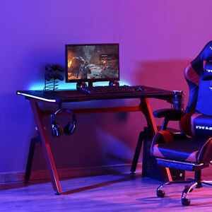 LED Ergonomic Gaming Desk Computer Table with Cup Holder Cable Management, Red