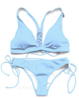 Victoria's Secret swim set PINK Ribbed Lace-Up Racerback Triangle cheekster Blue
