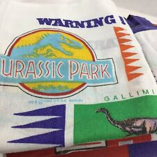 Jurassic Park TWIN Sheets Set Vtg Flat Fitted Pillowcase 90s Dinosaurs 1992