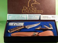 Ducks Unlimited Schrade Uncle Henry152UH & 834UH Knife Gift Set-near mint+certs
