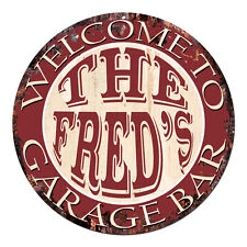 CPGB-0071 Welcome FRED'S GARAGE BAR Rustic Chic Tin Sign Man Cave Decor Gift