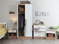 White Gloss & Oak Effect 3 PIECE Bedroom Furniture Set -Wardrobe Chest Bedside