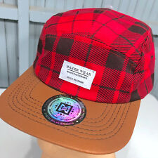 Maker Wear Red Plaid Cynthia Lupoff Leather Strap Baseball Cap Hat