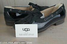 UGG HAYLIE BLACK PATENT  LEATHER DUCK SHOE LOAFER WOMENS  RAIN SHOES, US 10 NIB