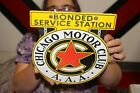 AAA+Chicago+Motor+Club+Bonded+Service+Station+Gas+Oil+Porcelain+Metal+Sign