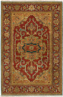 "Hand-knotted  Carpet 4'0"" x 6'0"" Serapi Heritage Traditional Wool Rug"