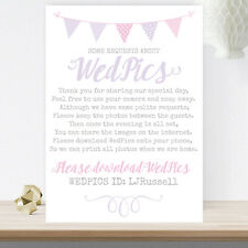 Lilac & Pink Bunting Personalised WedPics Image Request Sign 3FOR2 (LIB23)