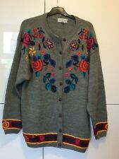 Women's Ladies Chunky Cardigan Jumper Sweater Pullover Size 10 Knit Embroidered
