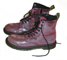 Dr. DOC MARTENS 8 eye DELANEY Ankle Combat Boots PINK GLITTER Womens US 7 (UK 5)