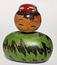 Watermelon Girl Kokeshi 4.9cm Kurobe Japan Original Wooden Doll No.TWO512