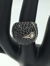 John Hardy Bamboo $1,195 Lava Black Sapphire Sterling Silver Dome Ring MINT!