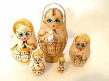 Set of 5 Russian Nesting Dolls Vintage Hand Painted Wood Burned Wooden Gold Trim