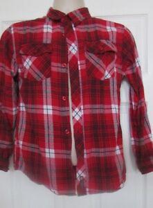 Boys SOUTH POLE button down plaid long sleeve top shirt 100% cotton L 14-16