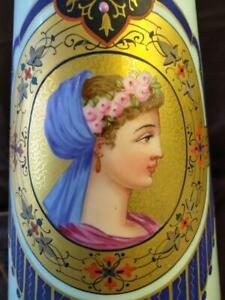Portrait Woman Oil Painting Antique Old Paris Porcelain Vase Urn Lamp Art French
