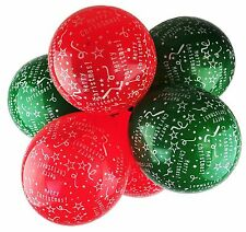 "Happium - Merry Christmas Print 12"" Latex Balloons Pack of 10 - Green and Red"