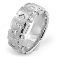1.00 Ct Princess Cut Men's Diamond Wedding F VS1 Band Ring 14k Gold White 8.6 mm