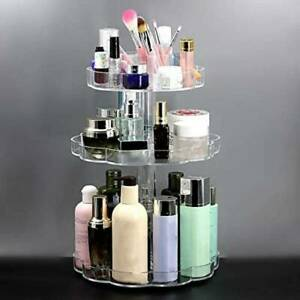 3 Tiers 360° Rotating Acrylic Makeup Organiser Holder Cosmetics Storage Case New