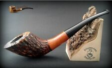 """WOODEN TOBACCO SMOKING PIPE No.57 """" HORN """"  Rustic Pear  7""""  Churchwarden + BOX"""